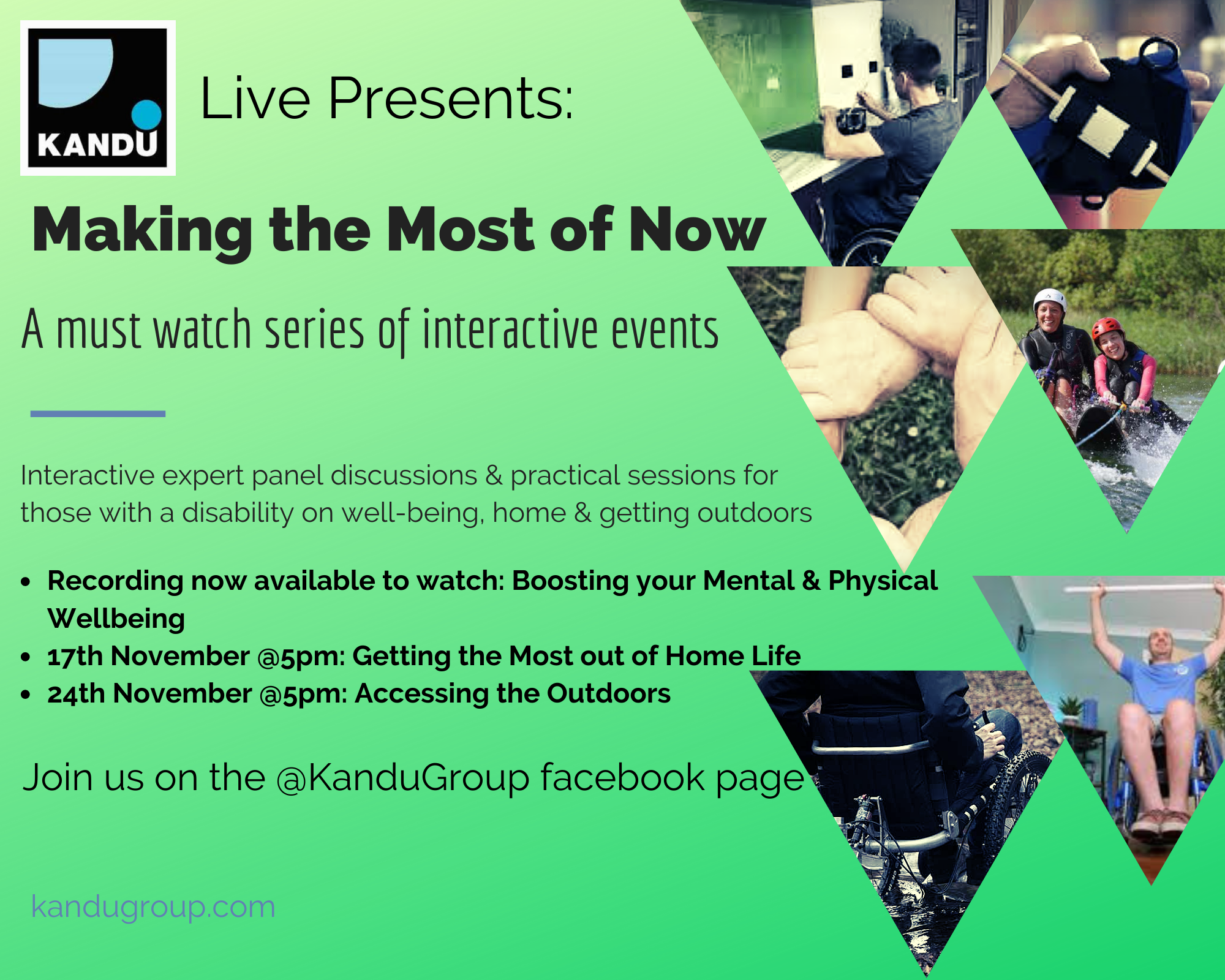 Kandu Group Presents... Making the most of Now, watch the recordings of the live events