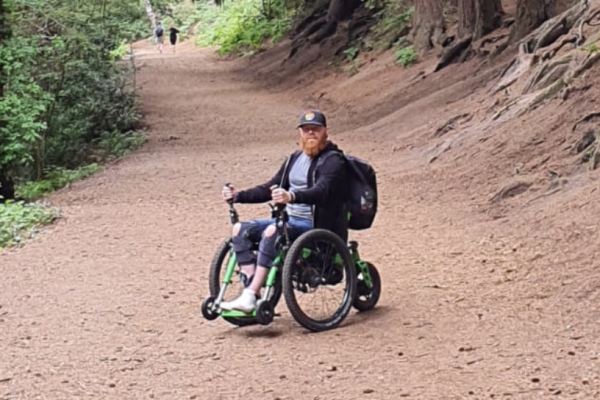 An easy fit - the eKit adds power to the Mountain Trike all terrain wheelchair