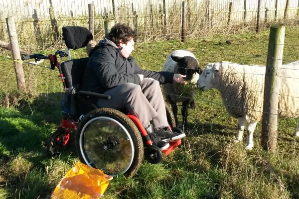 Joby can enjoy the farm thanks to his all terrain wheelchair - the MT Push